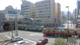まもなくラストランを迎える旧京阪特急塗装の600系に浜大津駅で遭遇した