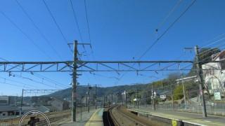 サントリーカーブで有名なJR京都線・山崎駅ホーム上にある京都・大阪の府境ポスト